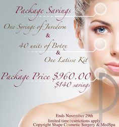 Injectables package, complete with beautiful eyelashes! Look fresh for the holidays.