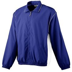 Augusta Sportswear Youth Front Zipper Long Sleeve Water Resistant Jacket. 3451 Description   Outer shell of 100% micro polyester, Body lined with 100% polyester mesh, Sleeves lined with 100% polyester taffeta, Center front zipper, White piping in collar and armholes, White side panels, Set-in sleeves, Reinforced slash front pockets, Elastic cuffs and bottom band, Water-resistant, Machine-washable, Individually polybagged.