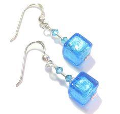 Murano Glass Aqua Cube Silver Earrings, Venetian Jewelry, Italian Jewellery, Leverbacks, Sterling Silver Posts