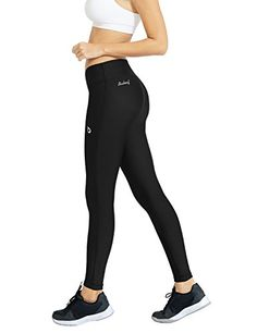 Baleaf Womens Fitness Running Cycling Tights with Back Pocket Black Size M >>> Details can be found by clicking on the image.