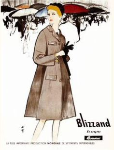 Blizzand Outerwear vintage adver illustrated by Rene Gruau