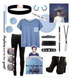 """Blue neighborhood"" by fangirl-trash ❤ liked on Polyvore featuring Deborah Lippmann, rag & bone, Vanessa Mooney, MANGO, Sunday Somewhere and Valentino"