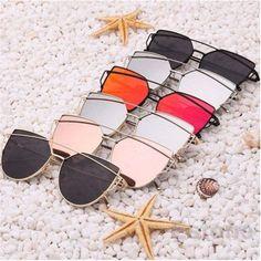 Women's Flat Lens Mirrored Metal Frame Glasses Oversized Cat Eye Sunglasses New  | eBay