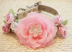 Pink -White Floral Dog Collar, High Quality Collar with Pink and White flowers- Pearl and Rhinestone, Wedding dog accessor Beaded Dog Collar, Diy Dog Collar, Pink Dog Collars, Handmade Dog Collars, Puppy Collars, Leather Collar, Red Leather, Pink And White Flowers, Pink White