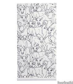 A new look for country? The inquiring eyes in this sketch-like print of bovines want to know. Paper in Black/White, by Marimekko. newwall.com.   - HouseBeautiful.com
