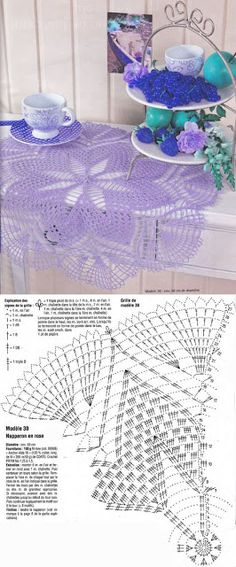 Heklanje plus: Šema 181 - Ljubičasta salveta Crochet Doily Diagram, Crochet Doily Patterns, Crochet Mandala, Thread Crochet, Filet Crochet, Crochet Motif, Irish Crochet, Crochet Stitches, Crochet Home