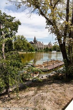Vajdahunyad Castle seen across the boating lake in Budapest, Hungary