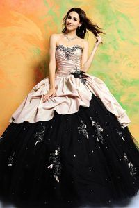 Gorgeous Pink and Black Sweetheart Quince Dress with Appliques and Ruching