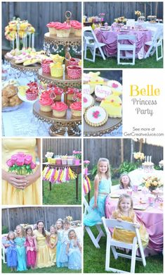 Belle Princess Party - ideas, decorations, food, activities, and Disney Princess Birthday, Disney Princess Party, Cinderella Party, Princess Belle, 6th Birthday Parties, Girl Birthday, Birthday Ideas, Girl Parties, Birthday Celebrations