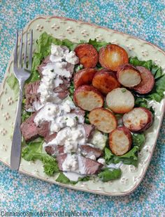 Roasted Potato and Pepper Steak Salad with Blue Cheese