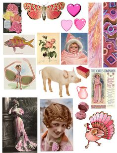 52 free to use pages of collage sheets.  Would be cute to cut apart and use as gift tags tied with striped baker's twine.