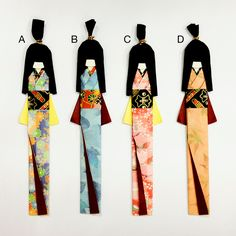 Japanese Origami Paper Doll Bookmarks. $4.00, via Etsy.