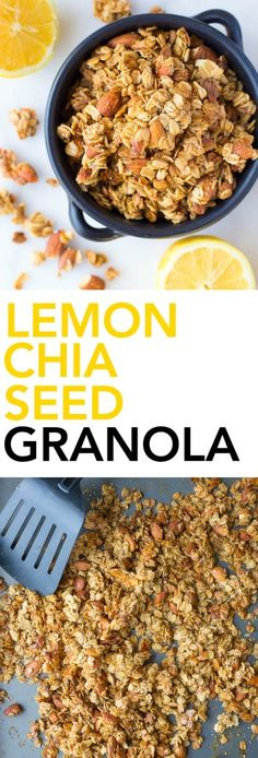 Lemon Chia Seed Granola: super crunchy and full of addictive clusters! This granola is vegan, gluten free, and made from only 8 healthy ingredients! || fooduzzi.com recipe