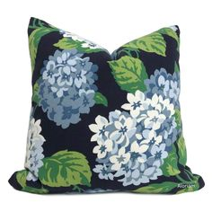 Bella Navy Blue Green White Hydrangea Floral Print Pillow Cover - Fits 16x16 insert / Special Order