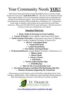 The St Francis Book Sale Now Offers You A Sponsorship Opportunity