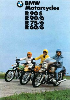 Nice choice of outfits by the art director (or is that just your usual BMW riders clothing & helmet choices, hehe. Bmw Scrambler, Motos Bmw, Bmw Motorbikes, Triumph Motorcycles, Cool Motorcycles, Vintage Motorcycles, Bmw Boxer, Bmw Cafe Racer, Bmw E46