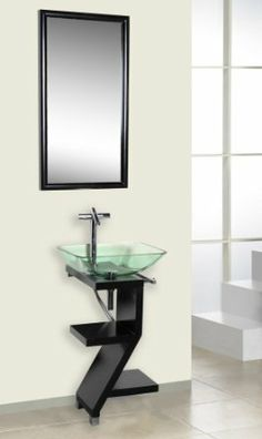 Small space bathroom vanity -- sink and faucet not included so I can chose my own! DreamLine DLVG-208-BK Black Wood Base Petite Powder Room Vanity - Amazon.com