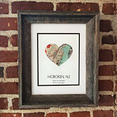 Framed Custom City Map Art, Map Home Decor with Open Barnwood Frame- Map Heart- Gift for Families or Friends - Hoboken Wall Art Coordinates Roommate Gifts, Map Projects, Map Pictures, Heart Map, Barn Wood Frames, Picture Gifts, Art Friend, Framed Maps, Map Art