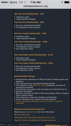 Clark Planeterium membership (pays movies)
