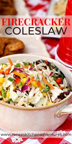 FIRECRACKER Coleslaw by Renee's Kitchen Adventures. Firecracker Coleslaw is the perfect side dish to serve with fried chicken or any BBQ main dish. It's a healthy and delicious combination of crunchy vegetables coated in a sweet and sour non-mayo dressing that takes minutes to put together. Slightly spicy, slightly sweet and oh so crunchy! #RKArecipes #coleslaw #coleslawrecipe #coleslawnomayo Best Side Dishes, Side Dish Recipes, Lunch Recipes, Cooking Recipes, Healthy Recipes, Spicy Recipes, Summer Recipes, Salad Recipes, Chicken Recipes