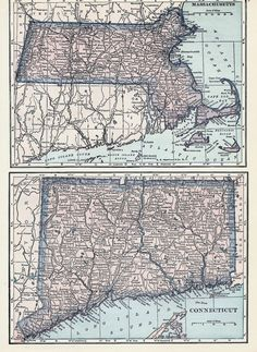 1927 Map New England States CT MA PA NY Lithograph 4 Maps by C S Hammond & Co #CSHammondCo
