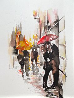 Love Paris Romance Kiss Original Watercolor Painting, contemporary modern wall art illustration home wall decor