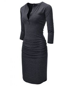 775776f8aeb8 Womens Figure Hugging Shirred 3/4 Sleeve Henley Midi Dress -  Nknkwmd721-charcoal - CX17Z542YO4