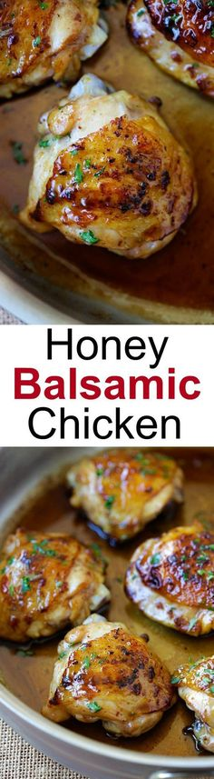 Honey Balsamic Chicken the easiest skillet chicken with sweet and savory honey balsamic sauce. Homemade chicken dinn