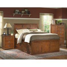 Tradewins Mission King Size Storage Drawer Bed in Warm Brown Oak Finish