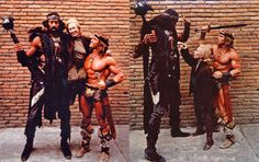 Wilt Chamberlain as Bombaata with Anne Stick & Arnold Schwarzenegger as Conan behind the scenes on #ConanTheDestroyer (1984).