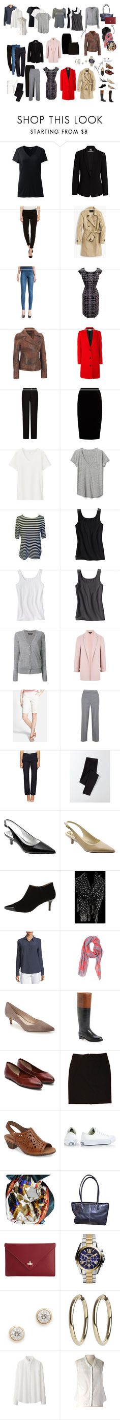 """My Five Piece French Wardrobe"" by lorisdoris on Polyvore featuring Lands' End, Vince Camuto, Liverpool Jeans Co., J.Crew, Lanvin, Acne Studios, Jupe By Jackie, Uniqlo, Gap and Isabel Marant"