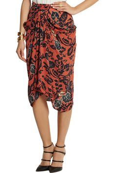 Burnt-orange silk Multicolored print, draped front Concealed hook and zip fastening at back silk Dry clean Draped Skirt, Silk Skirt, Rossi Shoes, Jennifer Fisher, Burnt Orange, Tao, Skirts, How To Wear, Skirt