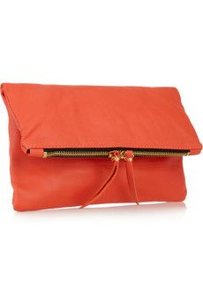 orange nappa leather fold over clutch. Love this! Too bad it's $295