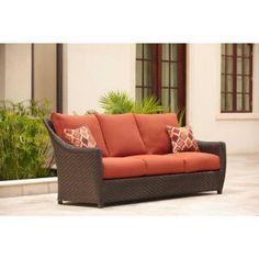 Brown Jordan Highland Patio Sofa with Cinnabar Cushions and Empire Chili Throw Pillows -- STOCK-DY10035-S - The Home Depot