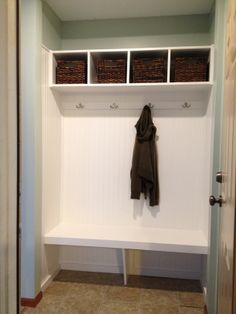 mini mudroom with bench