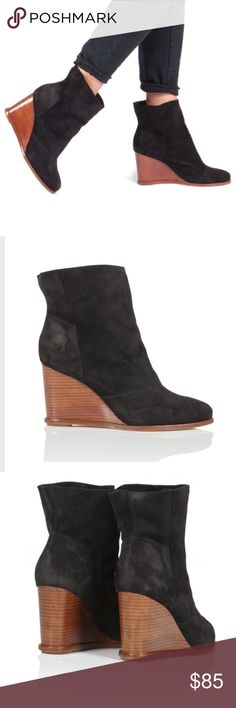 Matt Bernson Brooklyn wedge suede booties black Brand new wedge suede Brooklyn booties from Matt Bernson. Size 9.5. These are still listed on Matt Brendon's site for $299. Boots are brand new, never worn. No box included. Some residue on bottom of sole from price sticker. These are super versatile and awesome! Matt Bernson Shoes Ankle Boots & Booties