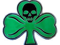 SHAMROCK Irish Green & SKULL Kilt Punk Clover Western Cowboy Metal BELT BUCKLE