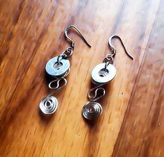 Steampunk earrings, Silver Earrings, Wire wrapped Jewelry, Industrial Earrings, Steam Punk, Gothic Earrings, hardware earrings, gift for her