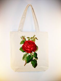 Vintage Red Rose lllustration on 15x15 Canvas Tote with shoulder strap - Larger Zip Top Tote Style and Personalization available
