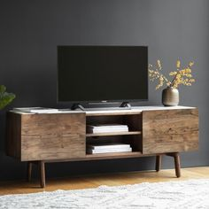 Sybil Media and TV Unit, White Marble Top, Brown unit design Mdf Sybil Media and TV Unit, White Marble Top, Brown Marble Top, White Marble, White Tv Unit, Wooden Tv Stands, Living Spaces, Living Room, Small Living, Modern Living, Tv Unit Design