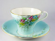 Vintage Aynsley Blue Floral Bone China Cup Saucer England SHIP at Cost | eBay