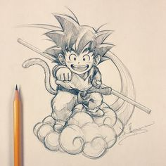 Son & Flying One of the fictional characters I idolize. Eat, sleep, train, fight and eventually become Super Saiyan >=D. Goku Drawing, Ball Drawing, Kid Goku, Dbz Drawings, Train Illustration, Z Tattoo, Anime Tattoos, Anime Sketch, Dragon Ball Z
