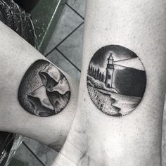 Black and Grey Dot Work Mountains Lighthouse Tattoo Denver Certified Customs