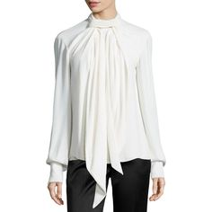 Jason Wu Crinkled Crepe Scarf Blouse ($960) ❤ liked on Polyvore featuring tops, blouses, chalk, white top, white drape top, white blouse, drapey top and white crepe blouse