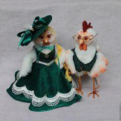 """Купить Авторские игрушки """"Граф и графиня Петуховы"""" (петух-символ 2017) - петушок, курица, курочка"""