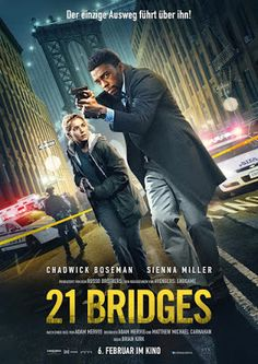 Trailers, TV spots, clips, featurettes, images and posters for the action thriller 21 BRIDGES starring Chadwick Boseman Sienna Miller, Black Panther Comic, Anthony Russo, Joe Russo, Martin Lawrence, Julia Stiles, Denzel Washington, James Brown, Jimi Hendrix