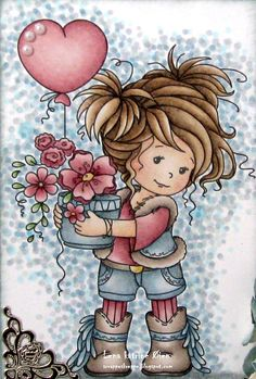 """I while ago I got this absolutely adorable digi at Club Tiets - Kaarten Maken Met Tiets ! This cutie is called """"Amy"""" , and are made b. Cute Images, Cute Pictures, Diy And Crafts, Paper Crafts, Whimsy Stamps, Holly Hobbie, Cute Cards, Doodle Art, Cute Drawings"""