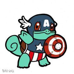 Superheroic Pocket Monsters -  Artist Binsbilyas Mashes Comic Book Favorites with Pokemon #pokemon #superhero #binsbilyas #comicbook #artdesign #art #design #avengers #captainamerica #squirtle