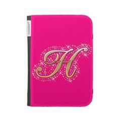 Pink Kindle Case with Initial H