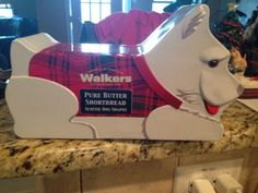 White Scottie dog Scottish Terrier Walkers shortbread tin with Scottie shapes!
